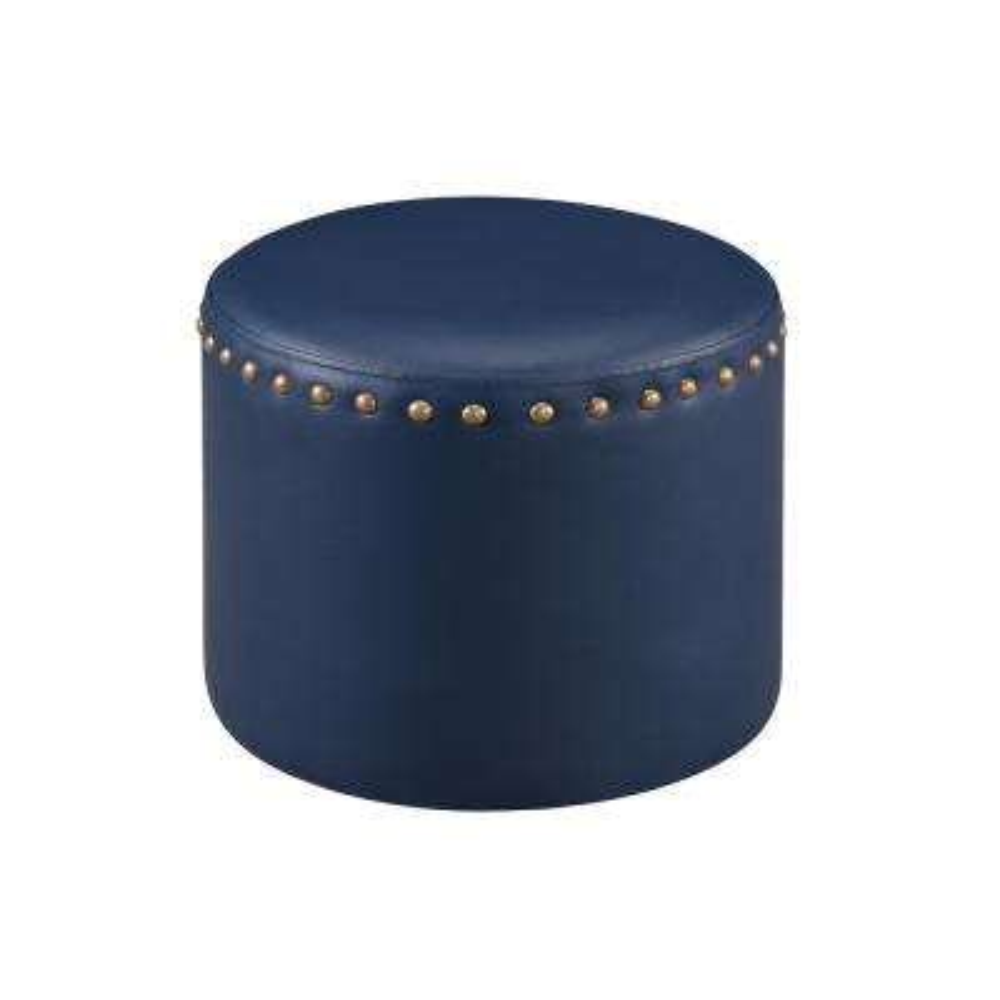 Blue Nailhead Trim Faux Leather Round Ottoman