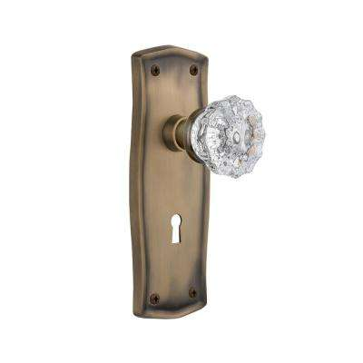 Prairie Plate with Keyhole 2-3/8 in. Backset Antique Brass Privacy Crystal Glass Door Knob