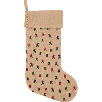 20 in. Jute Primitive Star Natural Tan Farmhouse Christmas Decor Jute Stocking