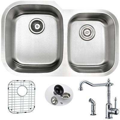 MOORE Undermount Stainless Steel 32 in. Double Bowl Kitchen Sink and Faucet Set with Locke Faucet in Brushed Satin