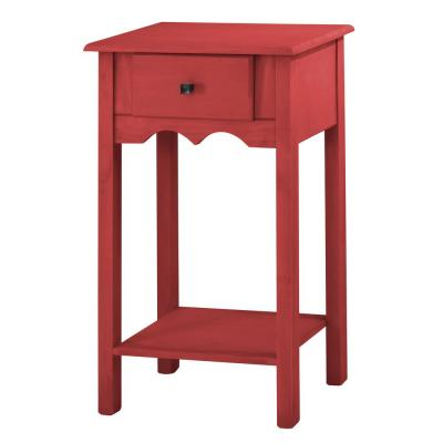 Manhattan Comfort Jay 35.43 in. Tall Red Wash End Table with 1-Full Extension Drawer, Red Wash/Matte