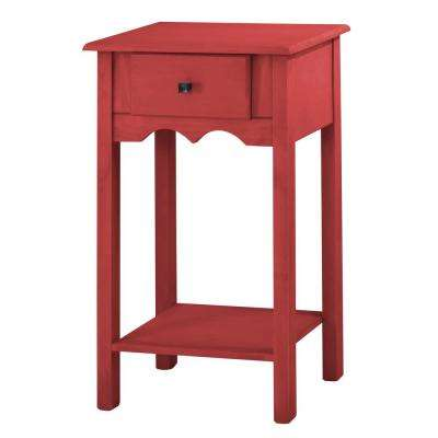 Tall Red Wash End Table With 1 Full Extension Drawer
