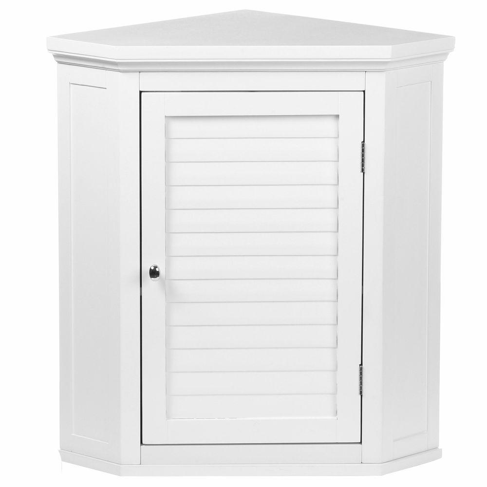 Elegant Home Fashions Simon 22 1 2 In W X 24 In H X 15 In D Corner Bathroom Storage Wall Cabinet With Shutter Door In White Hdt587 The Home Depot