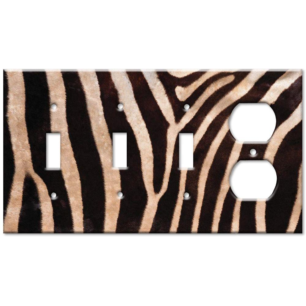 Art Plates Zebra Fur Print 3 Switch/Outlet Combo Wall Plate