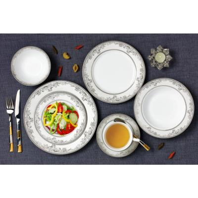 28-Piece Patterned Silver Accent Bone China Dinnerware Set (Service for 4)