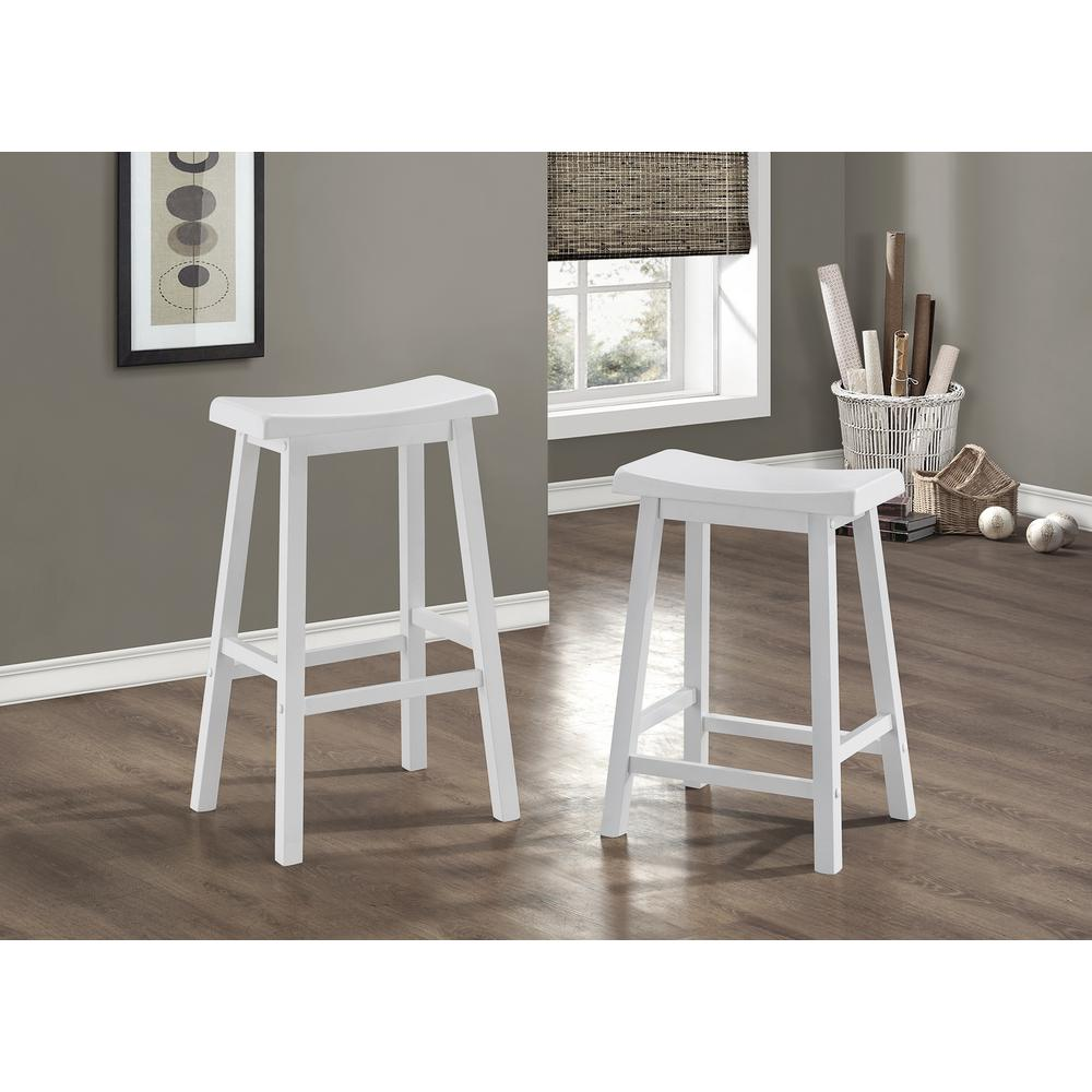 Monarch Specialties Saddle 29 In White Bar Stool Set Of 2