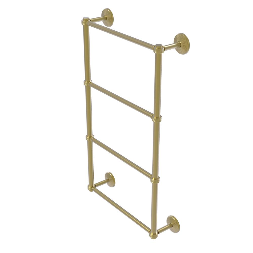 Allied Brass Monte Carlo Collection 4-Tier 24 in. Ladder Towel Bar with Groovy Detail in Satin Brass