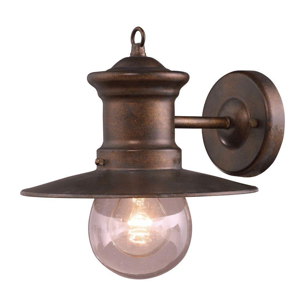 Titan Lighting Maritime 1 Light Outdoor Hazelnut Bronze Wall Sconce TN 5189