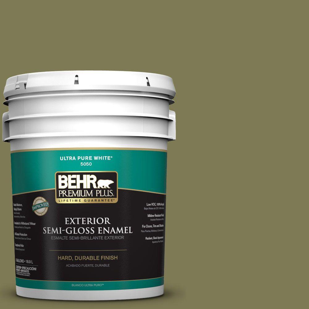 BEHR Premium Plus 5-gal. #S370-6 Seaweed Salad Semi-Gloss Enamel Exterior Paint