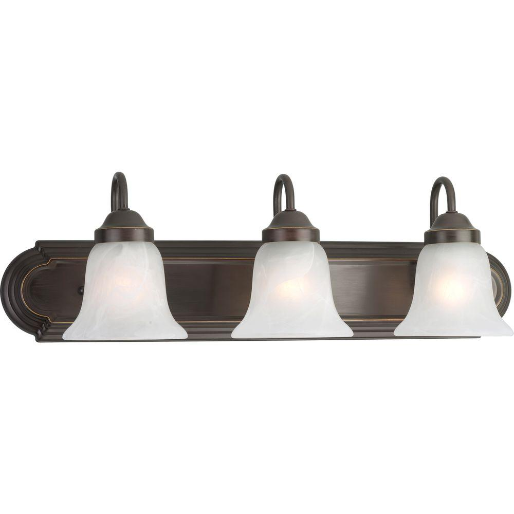 Bronze Vanity Lights With Clear Glass : Progress Lighting 3-Light Antique Bronze Vanity Light with Alabaster Glass-P2103-20 - The Home Depot