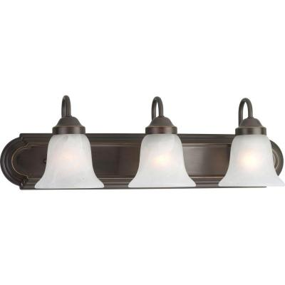 24 in. 3-Light Antique Bronze Bathroom Vanity Light with Alabaster Glass