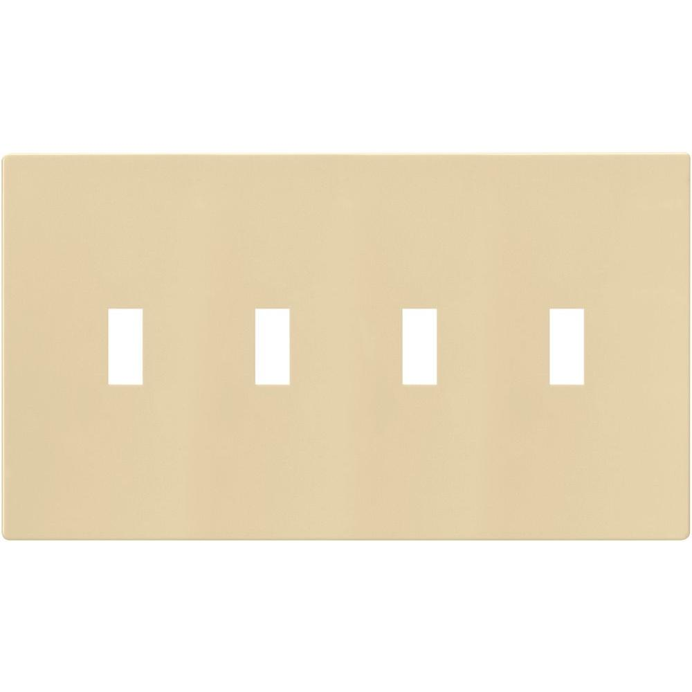 4-Gang Screwless Toggle Switch Mid-Size Wall Plate, Ivory