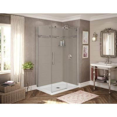 Utile Origin 32 in. x 48 in. x 83.5 in. Corner Shower Stall in Greige with Center Drain Base in White