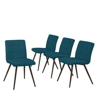 Windsor 5-Piece Caribbean Blue Tuff Stuff Fabric Rectangle Table and Armless Upholstered Dining Chairs