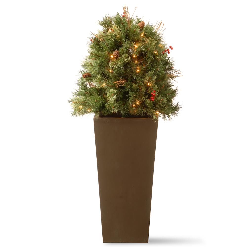 48 in. Glistening Pine Porch Bush with Clear Lights