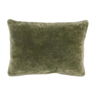 Heirloom Velvet 14 in. x 20 in. Rectangle Solid Stonewash Moss Decorative Pillow