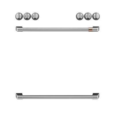 Front Control Electric Range Handle and Knob Kit in Brushed Stainless
