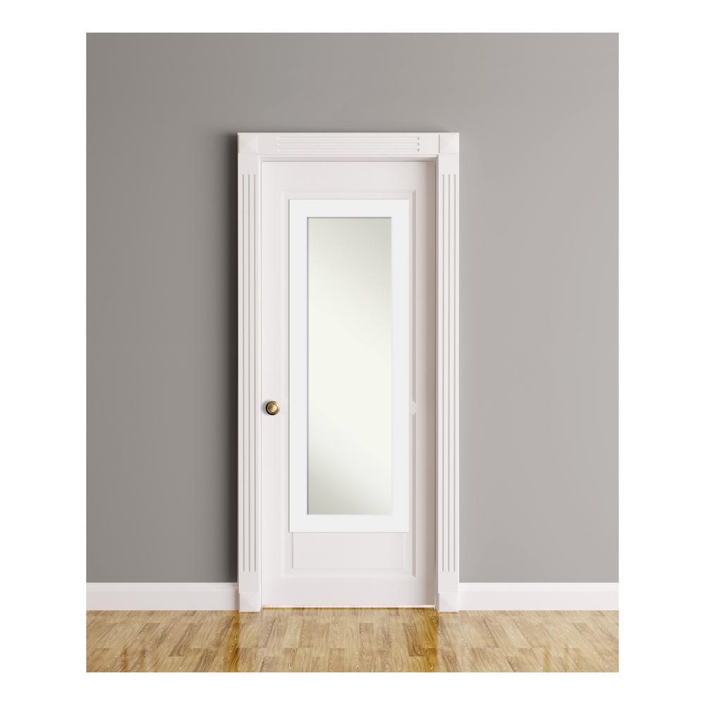 Corvino White Wood 19 in. W x 53 in. H On The Door Mirror
