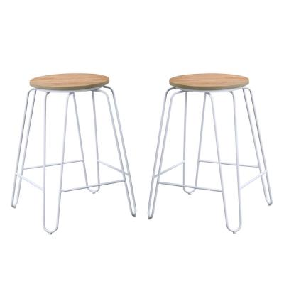 Ethan 24 in. Natural/Black Stacking Counter Stool (Set of 2)