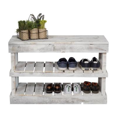 Reclaimed Barnwood White Shoe Rack Bench