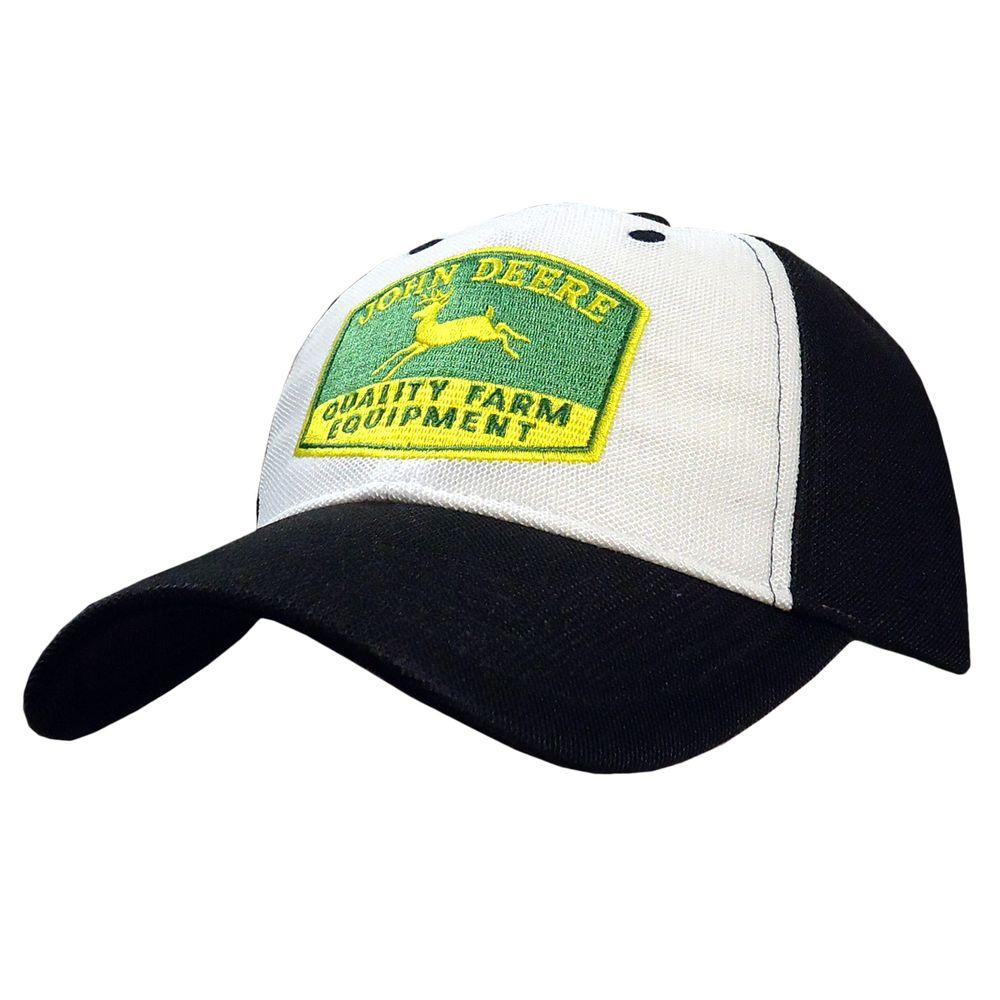 John Deere Breathable Golf Cap / Hat with Vintage Trademark in Black and White