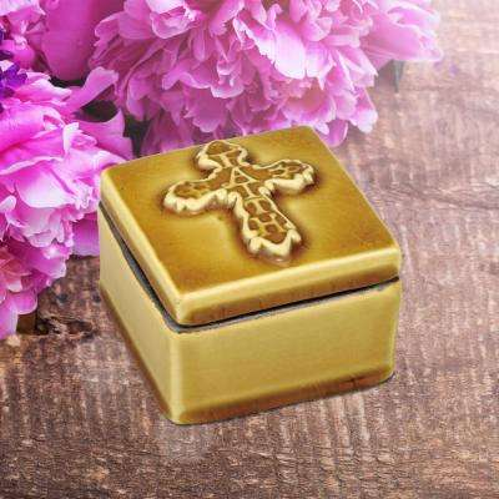 3.5 in. x 2.5 in. Amber Ceramic Square Faith Cross Trinket Box