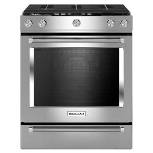 Click here to buy KitchenAid 30 inch 5.8 cu. ft. Slide-In Gas Range with Self-Cleaning Convection Oven in Stainless Steel by KitchenAid.