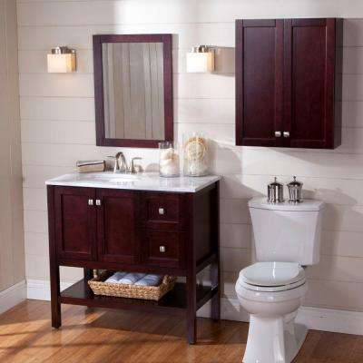 Sydney 22 in. W x 28 in. H x 8 in. D Over the Toilet Bathroom Storage Wall Cabinet in Dark Cherry