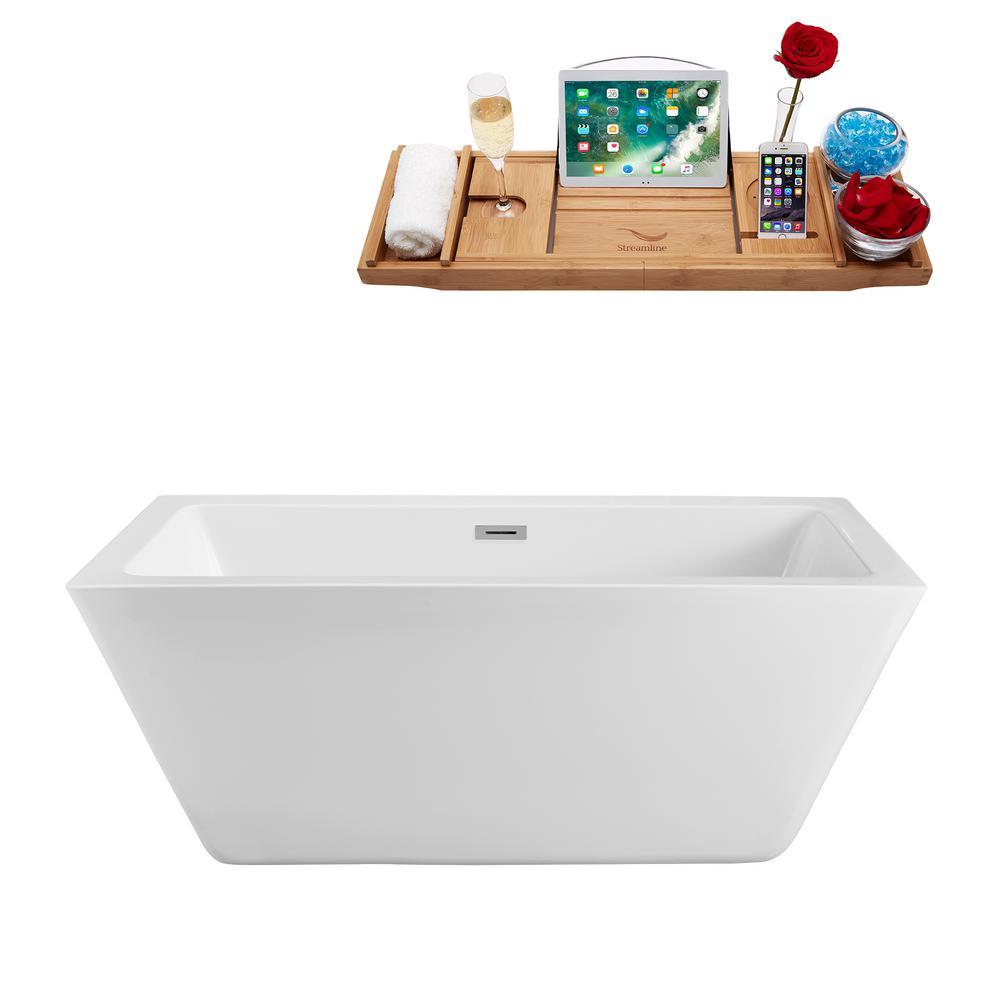 70.3 in. Acrylic Flatbottom Non-Whirlpool Bathtub in White