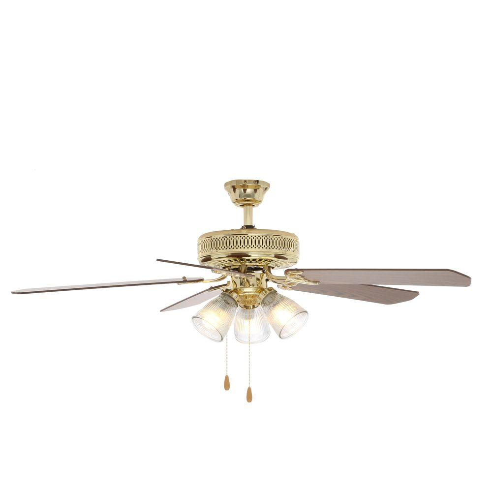 Hampton bay 52 in landmark indoor polished brass ceiling fan with landmark indoor polished brass ceiling fan with light kit hl52qv p 3lc14 the home depot mozeypictures