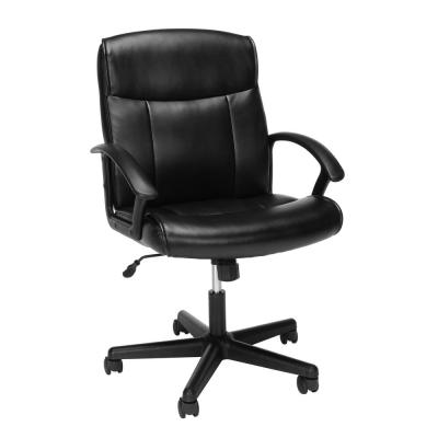 Essentials Collection in Black Mid-Back Bonded Leather Chair