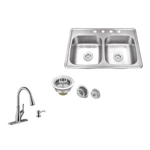 IPT Sink Company Drop-In 33 inch 4-Hole Stainless Steel Double Bowl Kitchen Sink in Brushed Stainless with Gooseneck... by IPT Sink Company