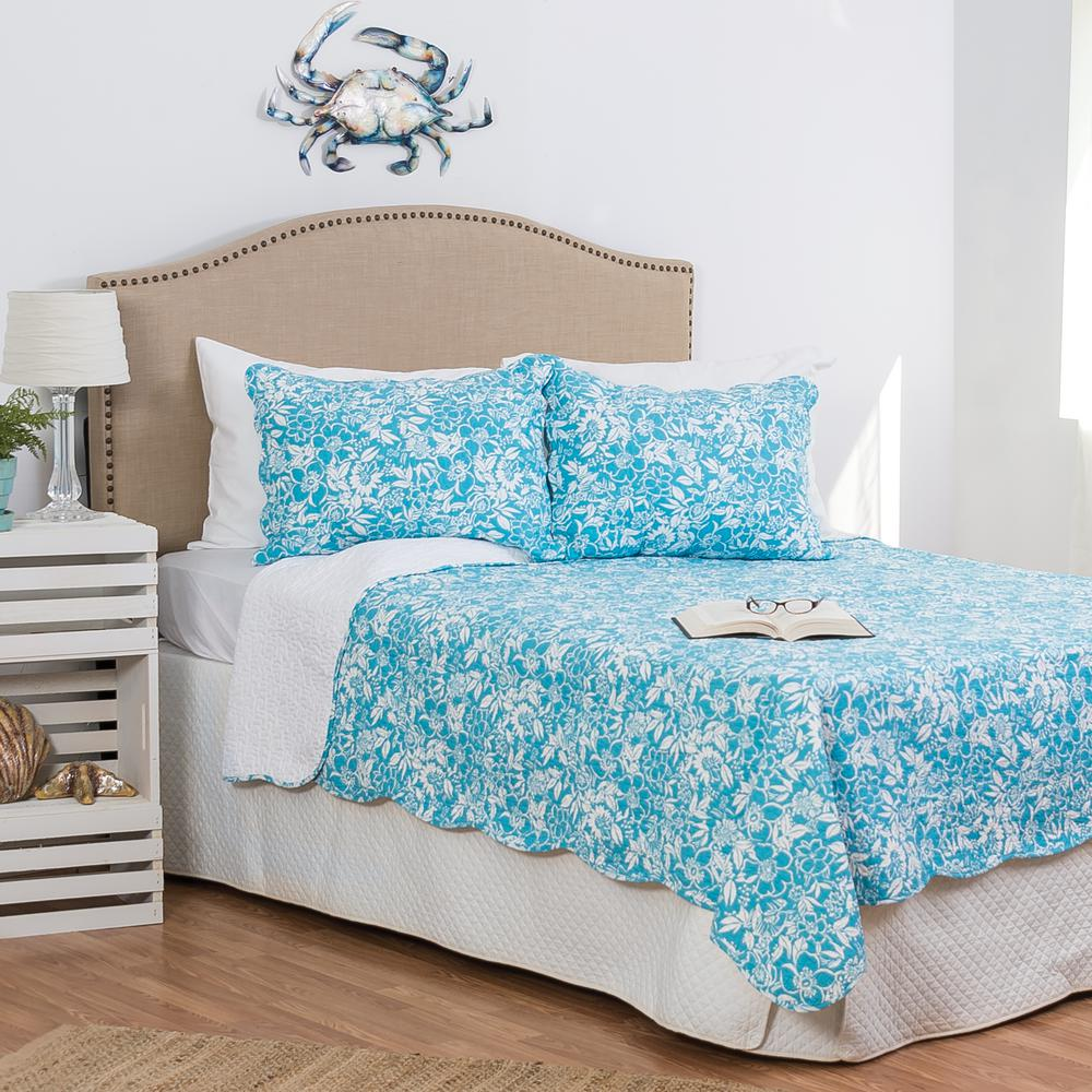 C F Home Blue Jamaican Breeze King Quilt Set