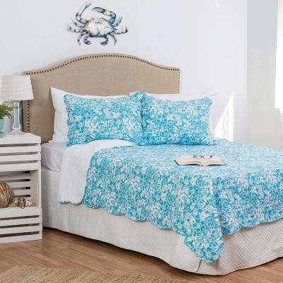 Blue Jamaican Breeze King Quilt Set