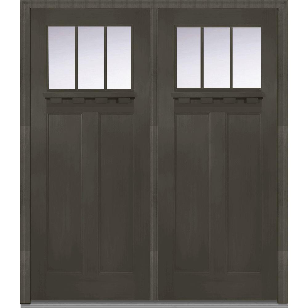 Mmi Door 72 In X 80 In Clear Glass Right Hand Craftsman 1 4 Lite Classic Stained Fiberglass