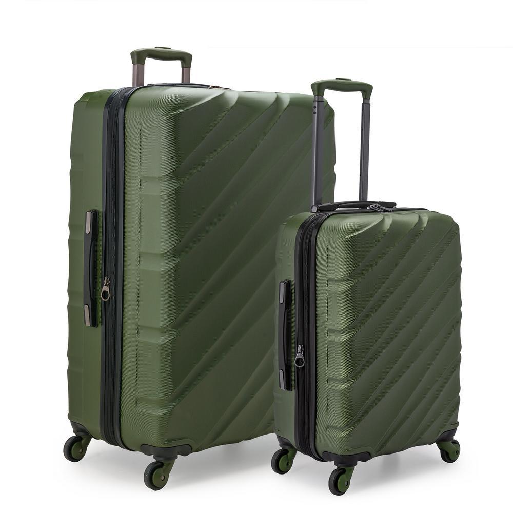 U.S. Traveler U.S. Traveler Gilmore 2-Piece Olive GreenExpandable Hardside 4-Wheel Spinner Luggage Set with Push-Button Handle System, Olvie Green