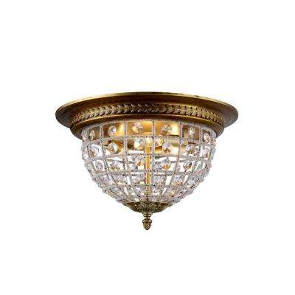 Olivia 3-Light French Gold Royal Cut Crystal Flush Mount