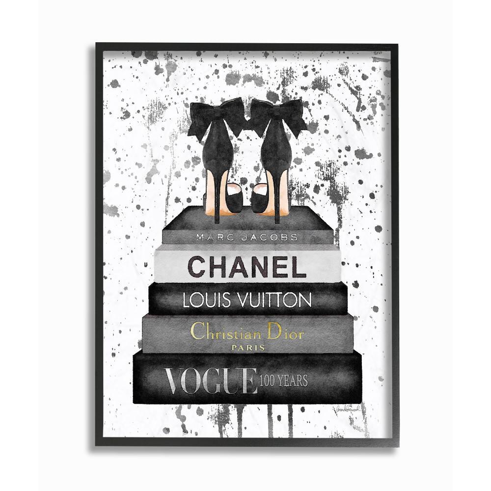 "16 in. x 20 in. ""Glam Fashion Book Stack Grey Bow Pump Heels Ink"" by Amanda Greenwood Wood Framed Wall Art"