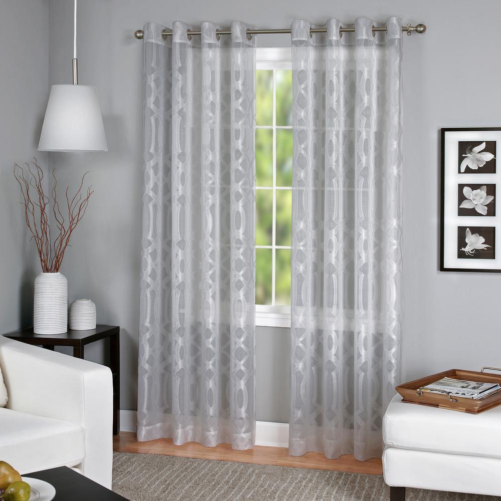 Elrene Sheer Latique Gray Grommet Sheer Window Panel