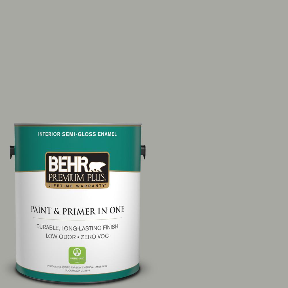 1 gal. #PPU25-05 Old Celadon Zero VOC Semi-Gloss Enamel Interior Paint