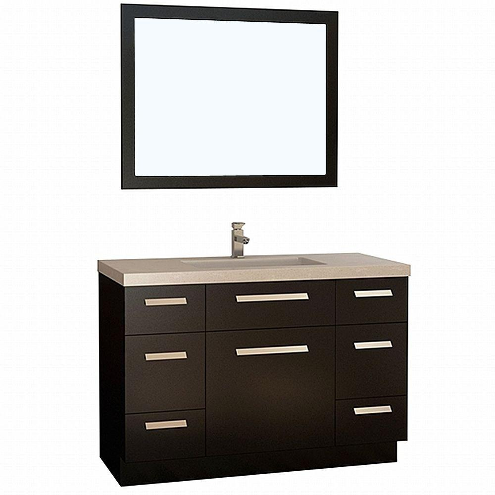 Design Element Moscony 48 in. W x 22 in. D Vanity in Espresso with ...