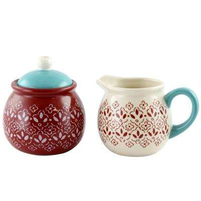 Hollydale 10.55 oz. 3-Piece Decorated Sugar Jar with Lid and Creamer Set