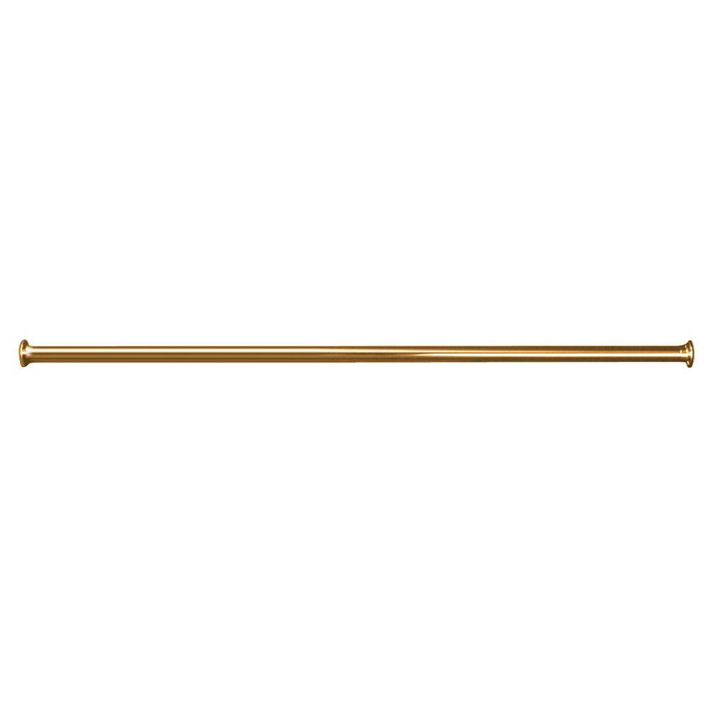 72 in. Straight Shower Rod with Flanges in Polished Brass