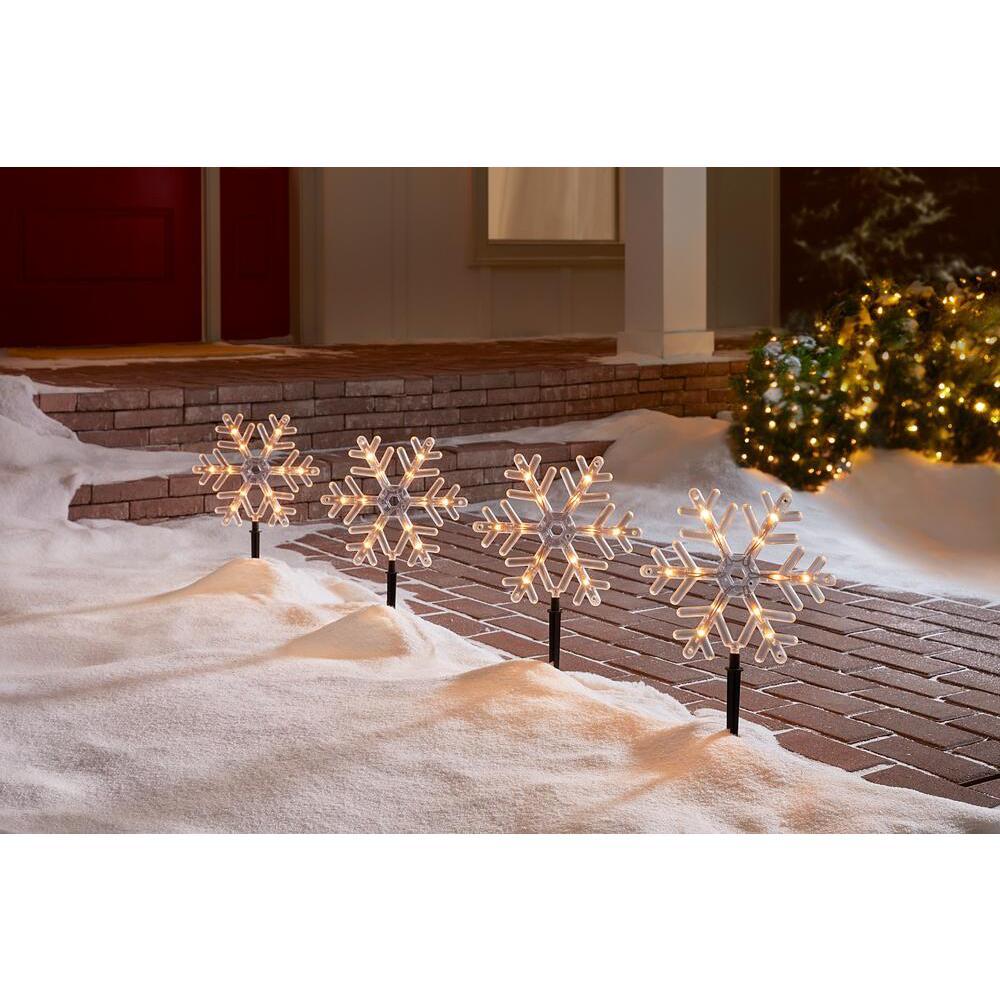 10 in. 48-Light Snowflake Pathway Lights (Set of 4)