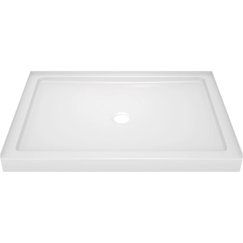 Delta Classic 400 34 in. x 48 in. Single Threshold Alcove Shower Base in High Gloss White