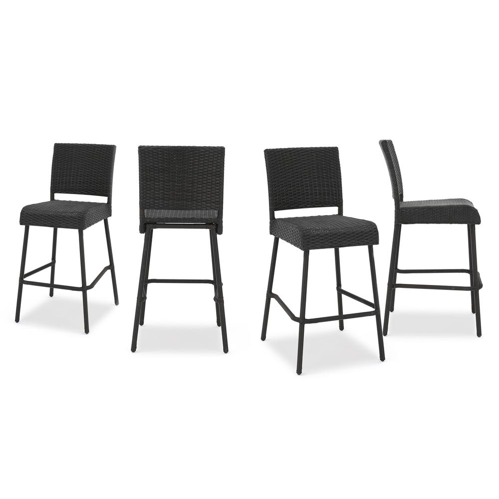 Noble House Neal Wicker Outdoor Bar Stool 4 Pack 299570 The Home