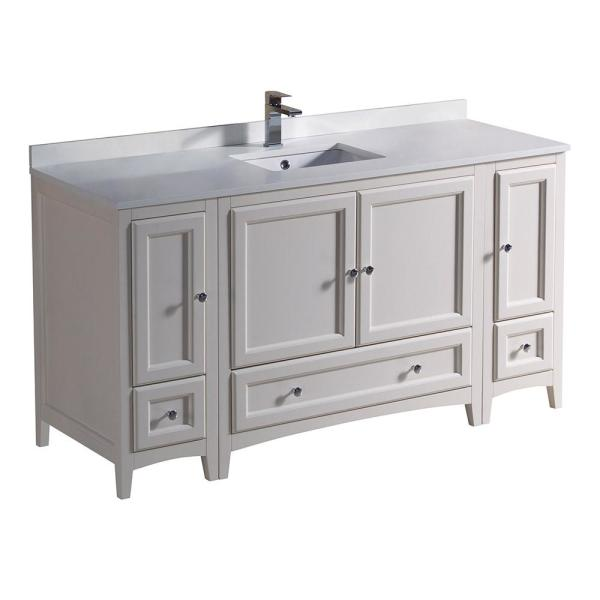 Oxford 60 in. Bath Vanity in Antique White with Quartz Stone Vanity Top in White with White Basin
