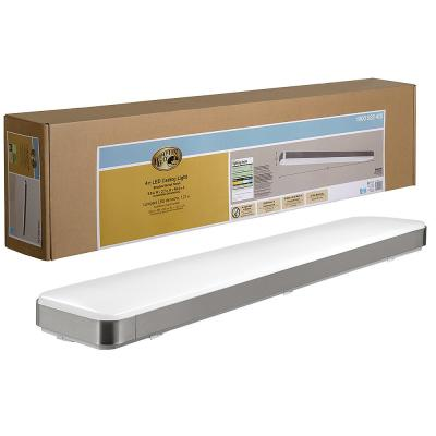 48 in. x 10 in. Rectangle LED Flush Mount Ceiling Light with Wide Brushed Nickel Border Dimmable 3000 Lumens 4000K