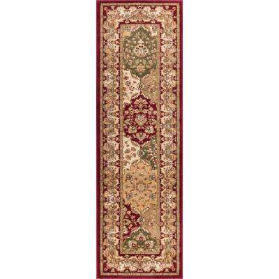 Timeless Mina-Khani Red 2 ft. x 7 ft. Traditional Runner Rug
