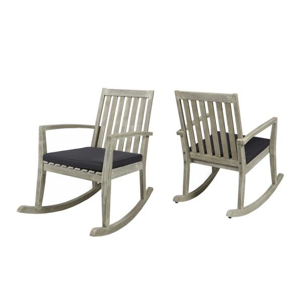 Montrose Light Grey Wood Outdoor Rocking Chairs with Dark Grey Cushions (2-Pack)